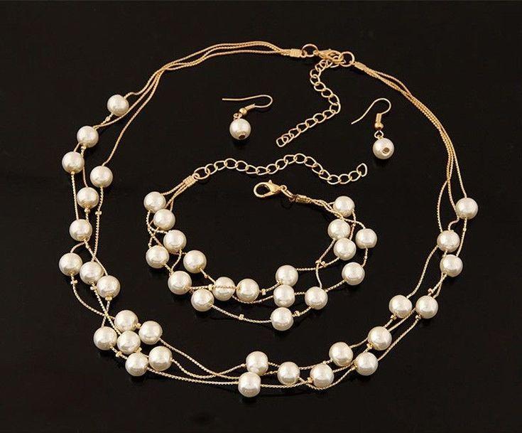 Fashion Women Chain Pendant Statement Bib Pearl Necklace Earrings Bracelet Set - https://barskydiamonds.com/necklaces/