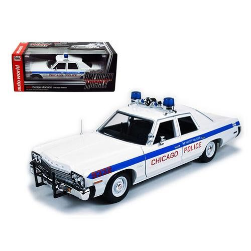 1974 Dodge Monaco Chicago Department Police Car Limited to 2000pc 1/18 Diecast Model Car by Autoworld