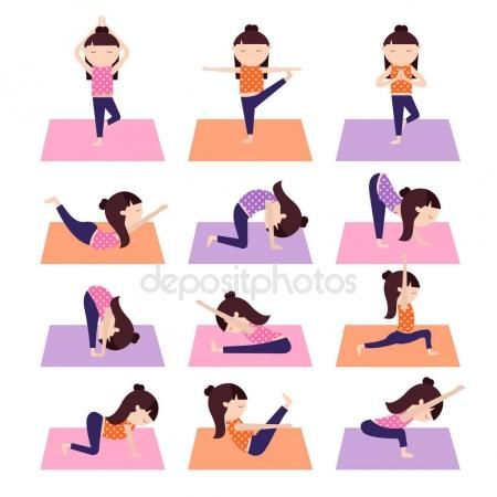 Yoga niños poses — Vector de stock #147832761