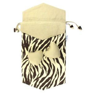 """Cotton Fabric Drawstring Shoe Bag, Approx. 9.25""""W x 18.5""""L by NaRaYa. $9.99. Material: 100% Cotton. Package Quantity: 1 Shoe Bag & 2 Shoe Shapers. Design/Color: Brown & Cream Zebra Print/Khaki Trim. Handcrafted in Thailand. Dimensions: Approximately 9.25""""W x 18.5""""L (Fits women's shoe size 6 or smaller). A great way to store your shoes while traveling.  Put a few drops of your favorite fragrance on the shoe shapers to eliminate and neutralize odors while you help sho..."""