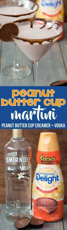 Easy Peanut Butter Cup Martini - just two ingredients and no fuss to your FAVORITE dessert martini ever!! Oh so sweet and chocolate, this is one of the best dessert cocktails I've ever had. via @crazyforcrust