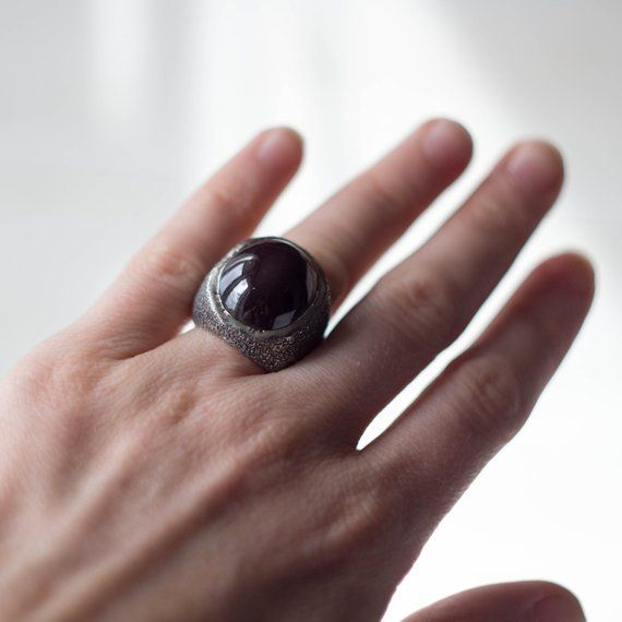 c8c7eb4497ea Large ring with black stone, sterling silver huge ring, big cocktail ring,  chunky silver ring, black garnet massive ring, black signet ring в 2018 г.