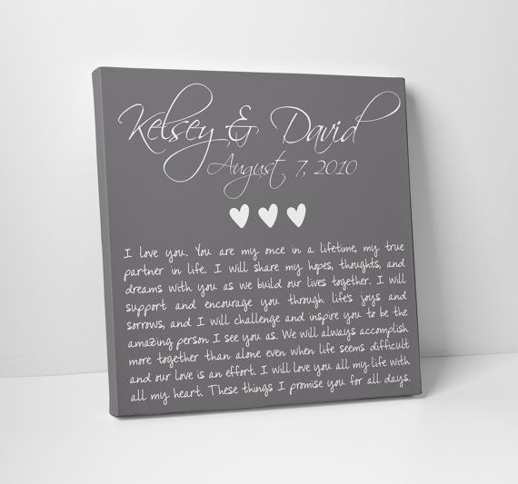 Valentine S Day Gift Wedding Anniversary Vows On Canvas Fathers For Him Her Sign Vow Renewal Pinterest
