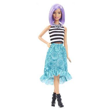 Barbie Va-Va-Violet fashionista pop  Deze Barbie Va-Va-Violet fashionistapop is gekleed in een gestreepte top en mooie rok. Het haar van deze pop heeft een opvallende paarse kleur.  EUR 13.99  Meer informatie