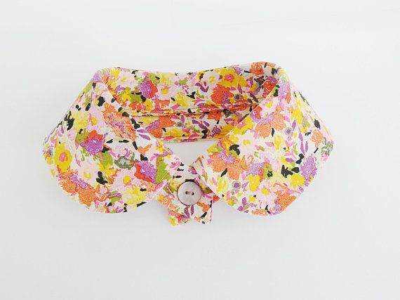 Cotton floral collar necklace Orange lilac yellow fabric