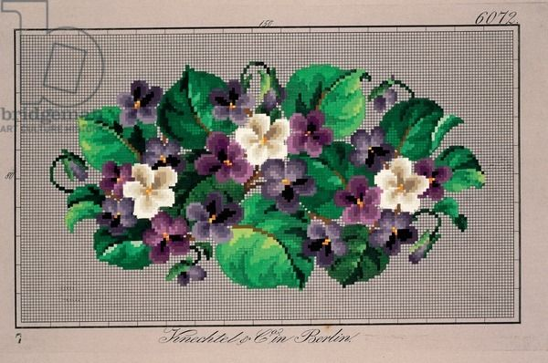 Bunch of violets embroidery design, 19th century - Knechtel und Co.
