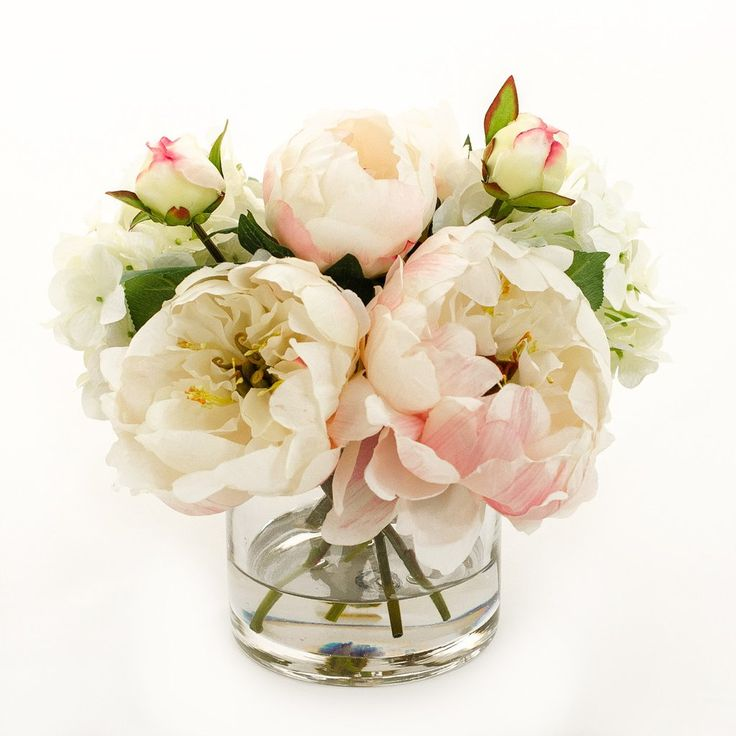 Light Pink Finest Quality Silk Peonies Buds Hydrangeas Artificial Faux Arrangement in Cylinder Glass Vase for Home Decor or Silk Centerpiece. Get discount for signup newsletter at https://www.flovery.com