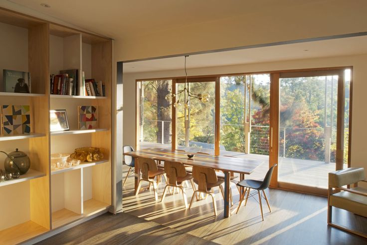 New bookcase and new sliding doors/windows to an expanded deck. Alterations & Additions to the Kallista Project in association with Deb Kunda Architect