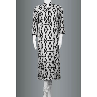 Zealous Black and White Printed Linen Kurti