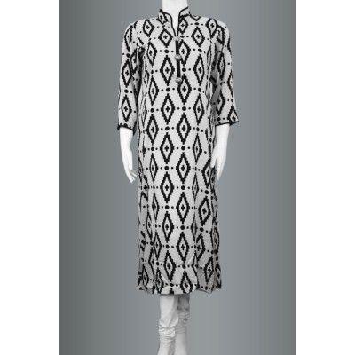 Zealous Black and White Printed Linen Kurti