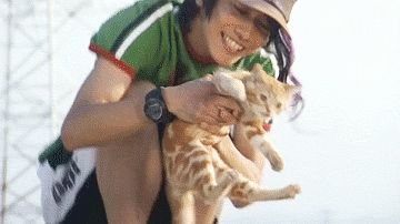 Takeru Sato with orange cat