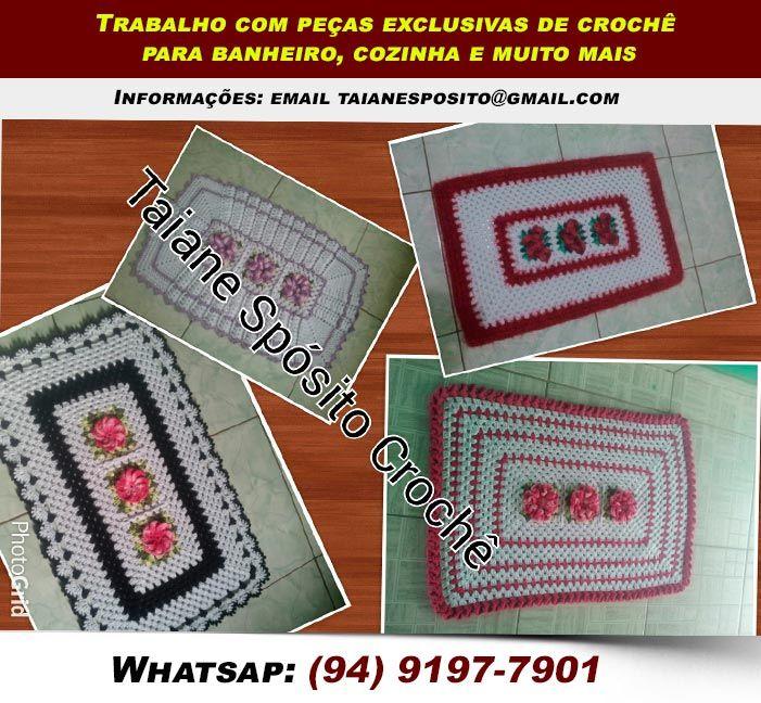 Trabalho com peças exclusivas de crochê para banheiro, cozinha e muito mais. Informações: email taianesposito@gmail.com Whatsap:094 91977901 (94) 9197-7901