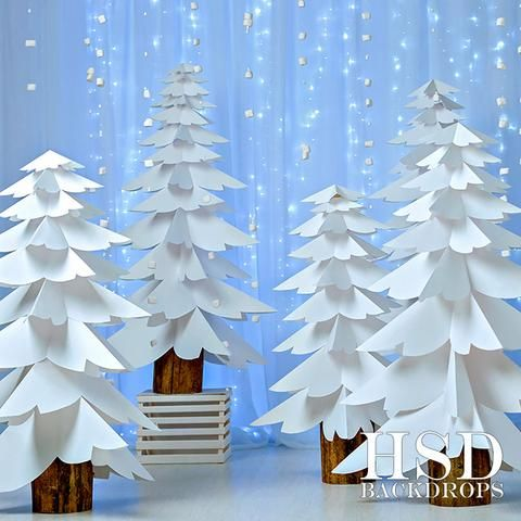 Photography Backdrop | Paper Trees Blue Background