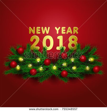 New Year 2018 illustration. colorful Christmas lights garland and Christmas balls on spruce branches