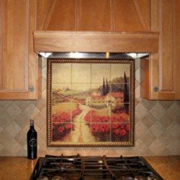 Kitchen Backsplash With A Tile Mural Of Poppies