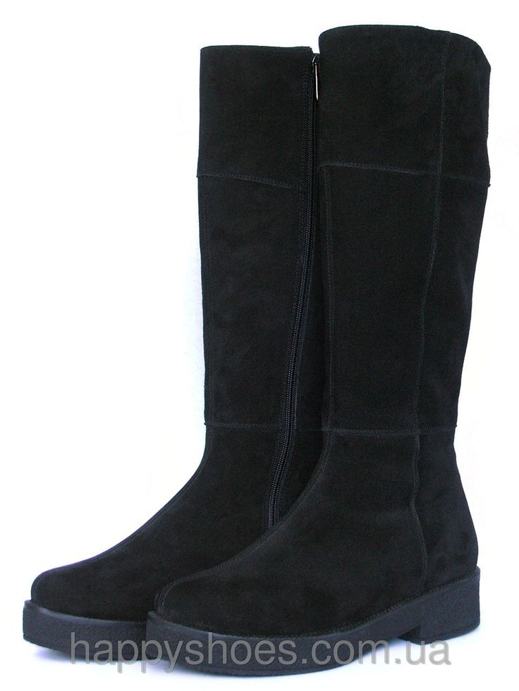 """Купить Замшевые черные сапоги в Запорожье от компании """"HappyShoes"""" - 386155930"""