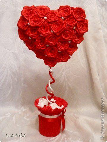 Бонсай, топиарий, Мастер-класс Моделирование: Сердце, сотканное из роз + мини МК Бусинки, Ленты Валентинов день, День рождения, Свадьба. Фото 1