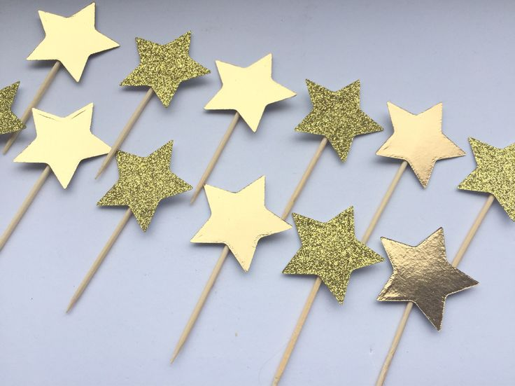 A personal favourite from my Etsy shop https://www.etsy.com/uk/listing/539548381/large-gold-star-cake-toppers-gold-star