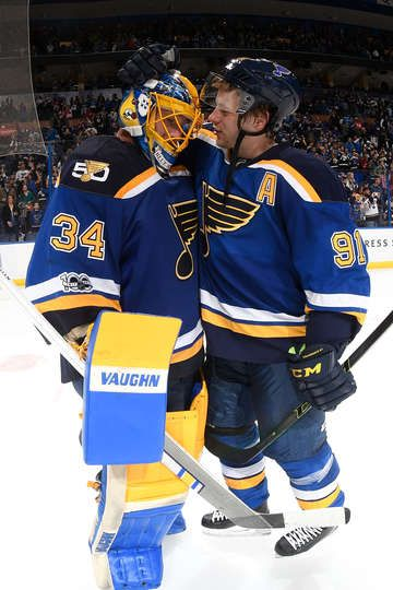 ST. LOUIS, MO - MARCH 27: Jake Allen #34 of the St. Louis Blues and Vladimir Tarasenko #91 of the St. Louis Blues celebrate their victory over the Arizona Coyotes on March 27, 2017 at Scottrade Center in St. Louis, Missouri. (Photo by Scott Rovak/NHLI via Getty Images)