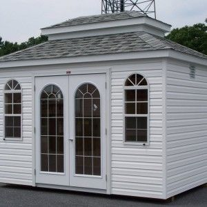 Traditional outdoor design with free standing pre built for Pre built sheds
