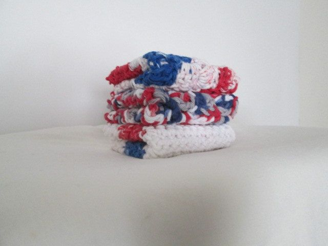 patriotic  cloths, handmade dish cloth, crochet dish rag, wash cloth,  cotton dish rag, Memorial day, Fourth of July, shower gift by Purplecatzcrochet on Etsy