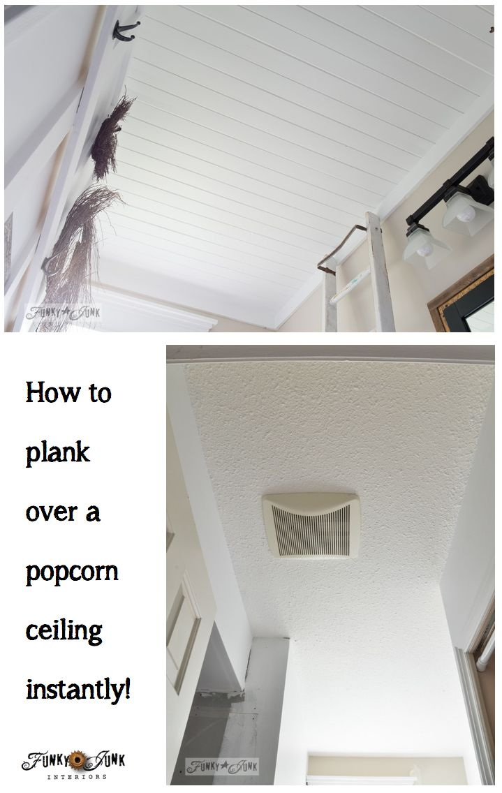 Don't like popcorn ceilings? No problem! Plank right over top of it... instantly! Full tutorial at FunkyJunkInteriors.net