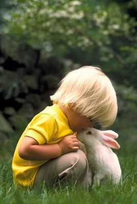 Sweet little boy with his Easter Bunny~~~~~YES, MY DEAREST LITTLE FRIEND, I SHALL PUT A CHOCOLATE EASTER EGG IN YOUR BASKET THIS YEAR……….ccp