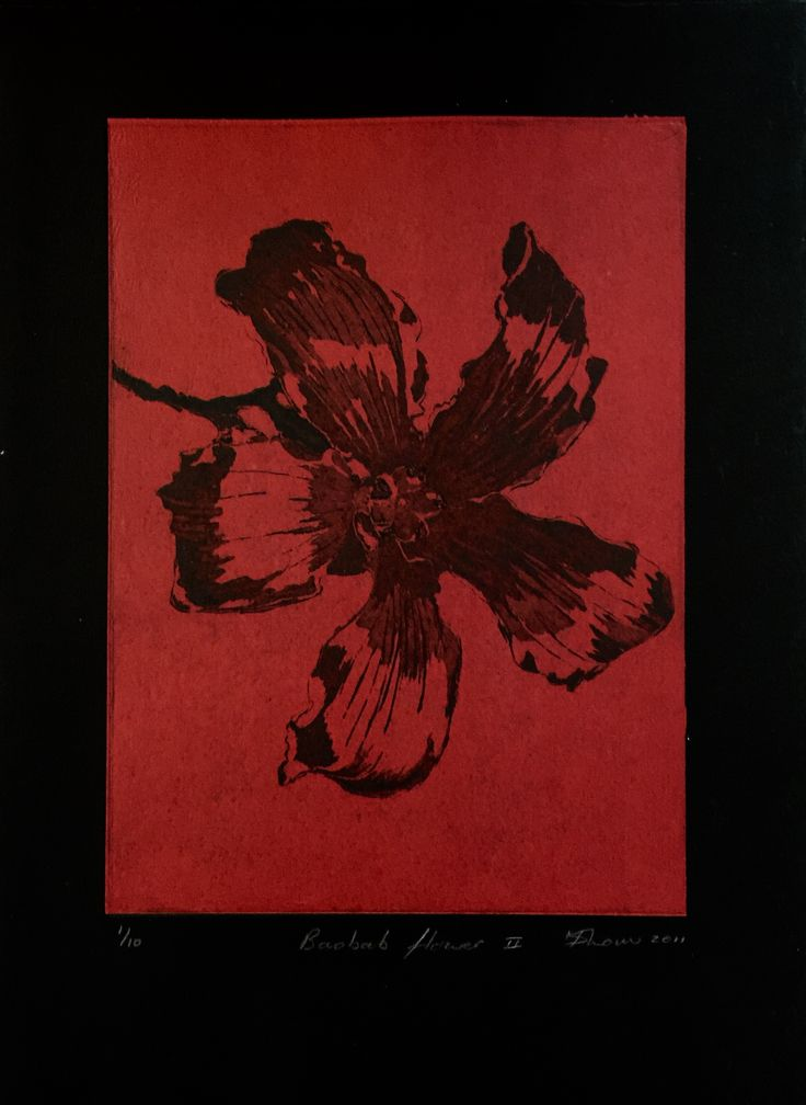 Copper plate hard ground etching with aquatint. Intaglio printing on chine colle