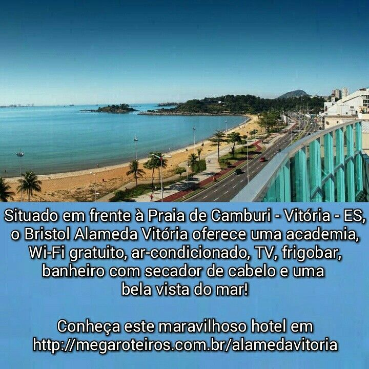 Situado em frente à Praia de Camburi - Vitória - ES, o Bristol Alameda Vitória oferece uma academia, Wi-Fi gratuito, ar-condicionado, TV, frigobar, banheiro com secador de cabelo e uma bela vista do mar!  Conheça este maravilhoso hotel em http://megaroteiros.com.br/alamedavitoria