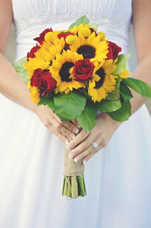 My Bouquet (red roses, sunflowers, and burlap)                                                                                                                                                                                 More