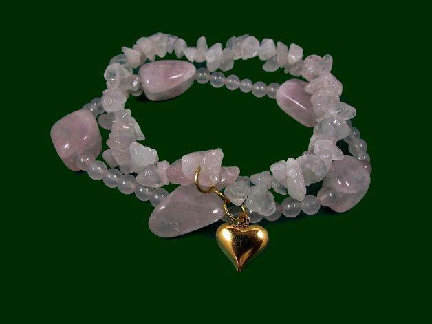 kwarc różany bransoletka na gumce kamienie nat - KaroAnnA - Bransoletki