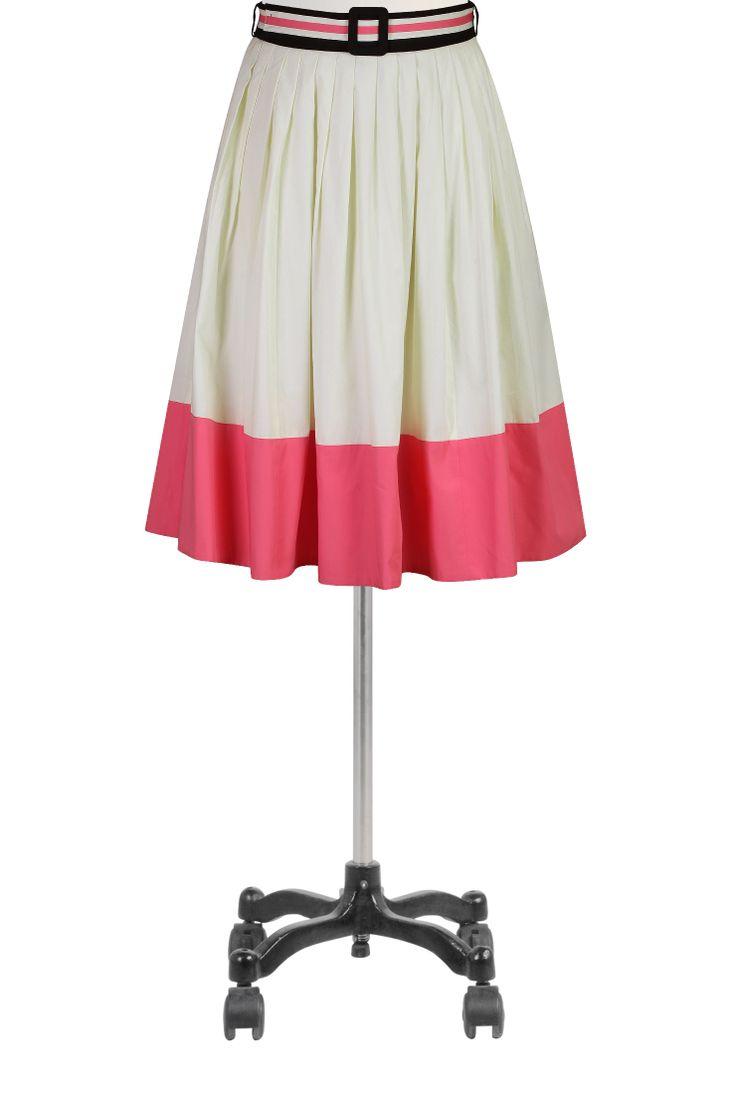 Colorblock Pamuk Poplin Etekler, Kuşaklı Tam Etekler Plus Size Kadın siyah etek ve elbiseler - Pamuk, Uzun, Plus Size, A-line, Kalem - Bayan tasarımcı etekler - | eShakti.com