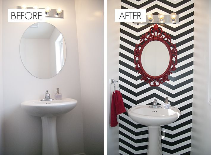 Best 25 chevron bathroom ideas on pinterest grey for Red accent bathroom