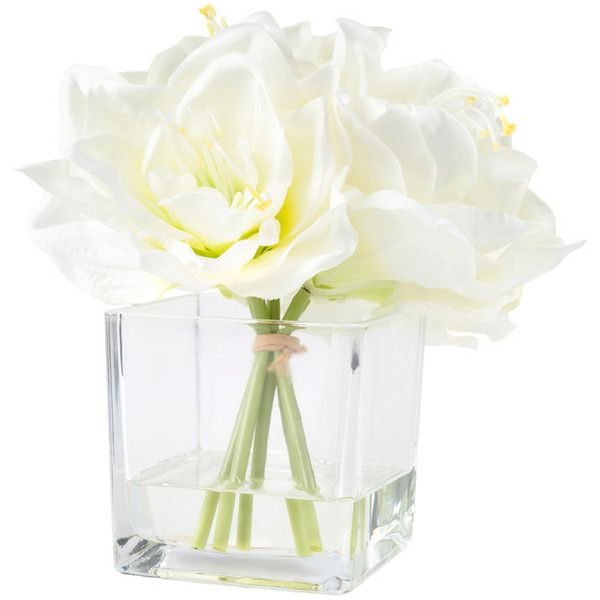 Lily Arrangement With Glass Vase, Cream - Contemporary - Artificial... ❤ liked on Polyvore featuring home, home decor, floral decor, ivory artificial flowers, lily flower arrangement, ivory silk flowers, contemporary home decor and contemporary home accessories