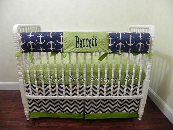 Custom Nautical Baby Crib Bedding Set Byron- Baby Boy Bedding, Teething Rail Guard in Navy and Lime
