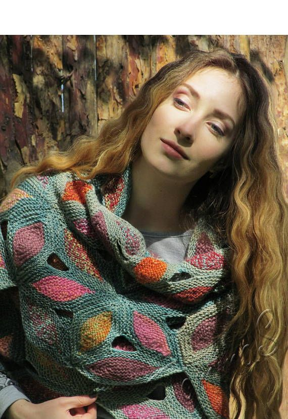 Knit wool shawl  varicoloured handmade shawl  green knit