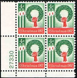 US #1205 Stamps for sale  4 cents Christmas 1962 Stamps MNH  Wreath and Candles  Plate Block of 4  LL 27330  US 1205-22 PB