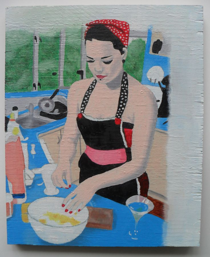 Baking - Oil on plywood - About A5 in size.