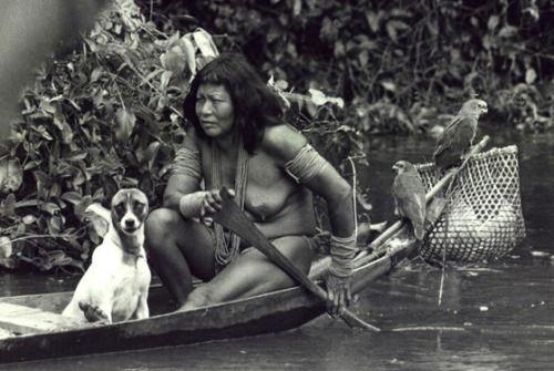"""pachatata: """"Wayana Apalai woman and her pets. Brazil 1974. Photo: Pedro Martinelli """""""