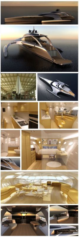 Adastra Trimaran - meaning latin for 'to the stars'  would fit as comfortably in outer space as it would on the open sea. Click to see this pleasure palace #spon #video #luxury