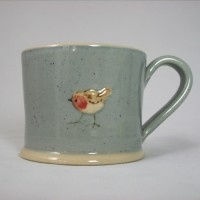 """Robin on Blue by Jane Hogben"" Love this sweet cup"