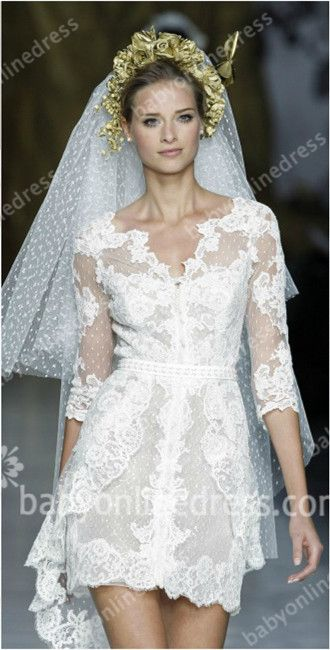 Short Wedding Dresses 2015 Sexy V Neck Long Sleeve Lace Appliques See Through Sash Bridal Dresses from Babyonlinedress.com