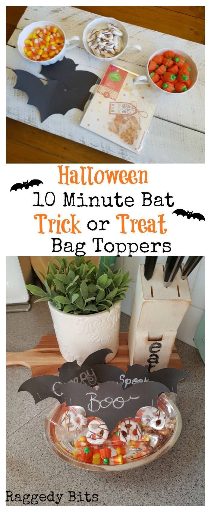 A super quick and easy craft to make Halloween 10 Minute Bat Trick or Treat Bag Toppers   Full tutorial   www.raggedy-bits.com