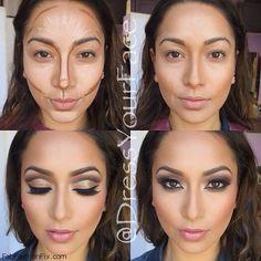 How to highlight and contour your face with makeup. #contour #makeup #highlight