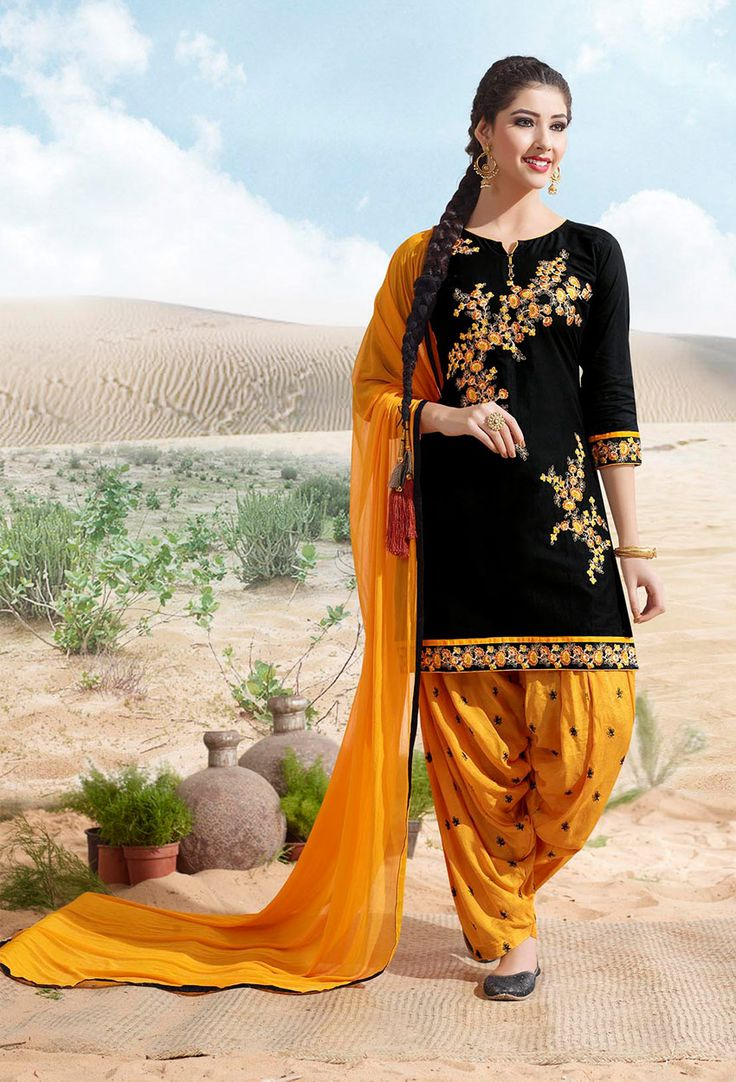 #Black And #Yellow #Cotton #Patiala #Suit  #nikvik  #usa #designer #australia #canada #freeshipping #readytoship #readytomove
