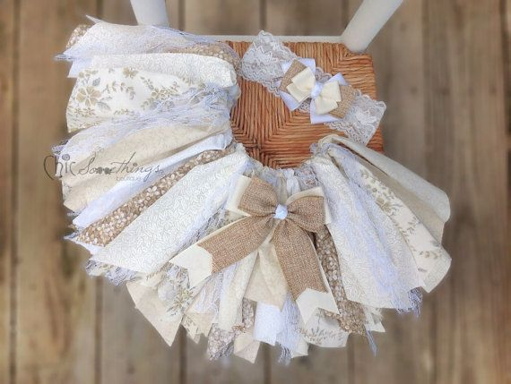 Fabric Tutu CREAM AND SUGAR Vintage Lace Burlap by ChicSomethings, $36.00