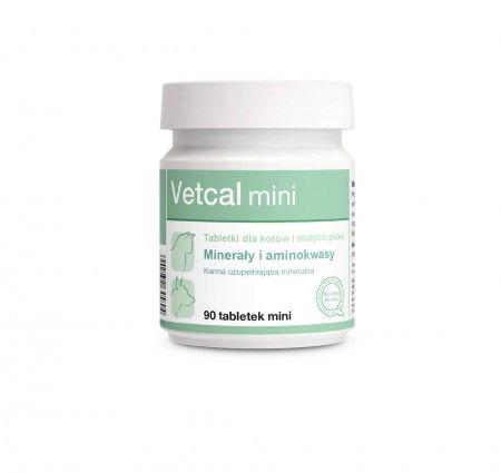 Vetcal mini 90 tabletek. Zaleca się stosowanie preparatu Vetcal jako uzupełnienie niedoborów mineralno-witaminowych dla psów i kotów żywionych w sposób tradycyjny, gdzie w karmie występuje duża podaż fosforu.