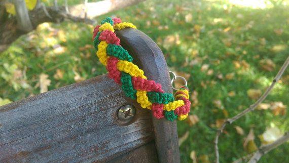 Rasta, geflochtener Hanf, Armband, Tri Color Hanf, Geschenk für sie, Geschenk für ihn, Bob Marley, einstellbar, kostenloser Versand in den USA