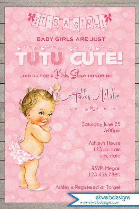 Tutu Cute Girl Baby Shower Invitation Tutu Baby Shower Invitation