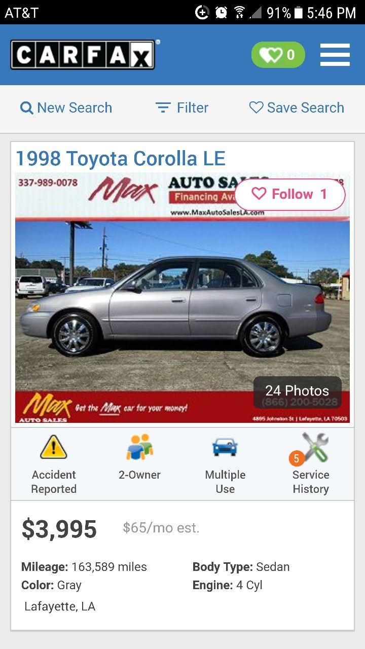 1998 Toyota Corolla LE $3,995